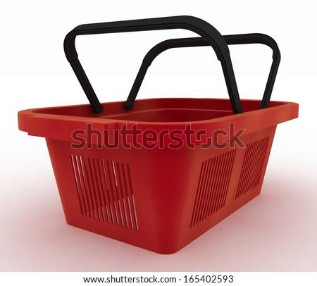 Empty red plastic shopping basket. 3d render illustration on white background - stock photo