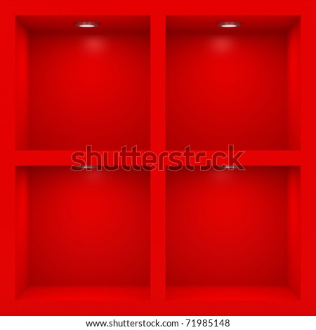 Empty red rack with illumination of shelves - stock photo