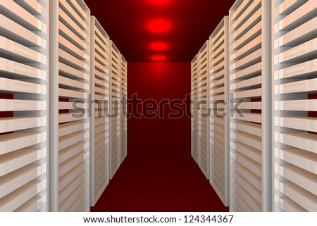 Empty red room for modern interior of server room in datacenter - stock photo