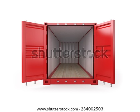 Empty Red Shipping Container , 3d render , Clipping Path - stock photo