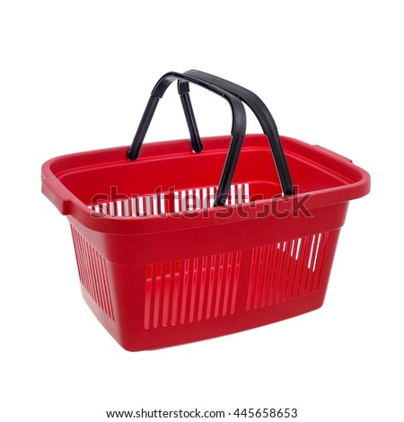Empty red shopping basket - stock photo