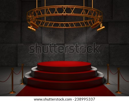 Empty red stage, 3D - stock photo