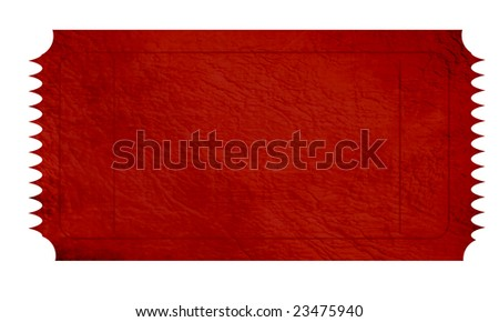 empty red ticket on a white background - stock photo