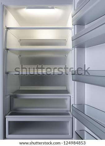 Empty Refrigerator. Open door. 3d rendered image. - stock photo