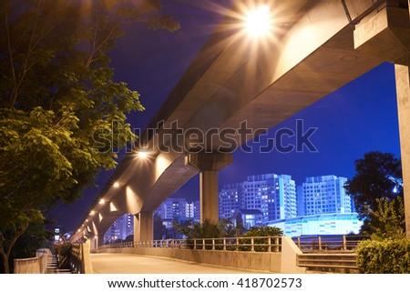Empty road at night - stock photo