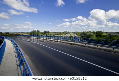 Empty Road Over The Highway - stock photo