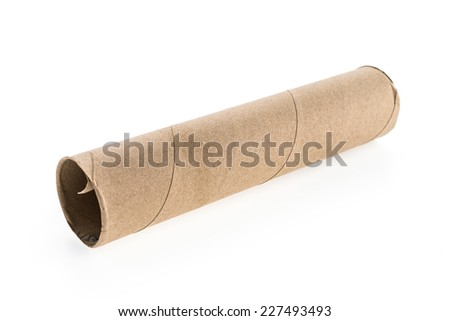 Empty roll tissue paper isolated on white background - stock photo