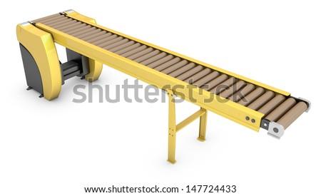 Empty roller conveyor isolated on white background - stock photo