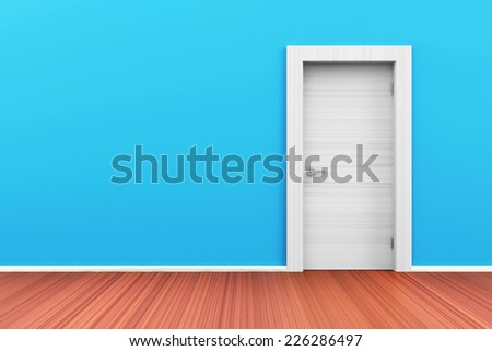 Empty Room 3D Interior with Closed Door - stock photo