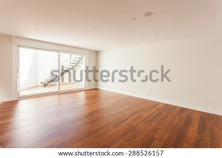 Empty room in a new construction, residence - stock photo