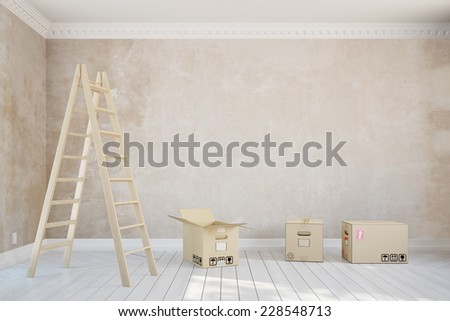 Empty room in apartment during relocation with ladder and moving boxes (3D Rendering) - stock photo