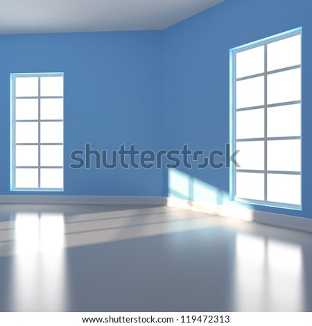 Empty room in blue colour. 3d render - stock photo
