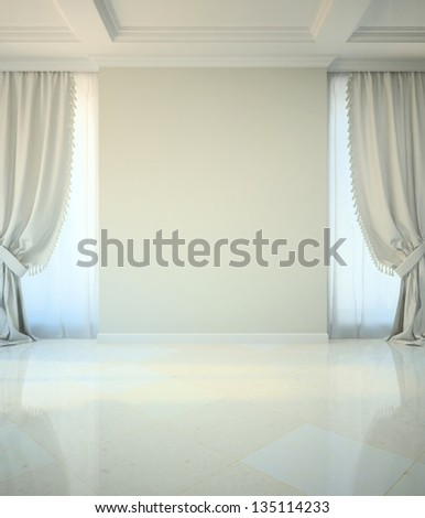 Empty room in classic style illustration - stock photo