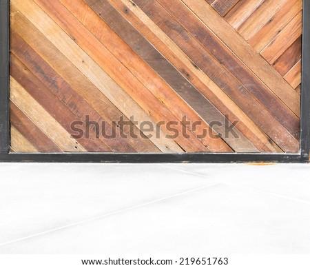 empty room interior,Diagonal wood plank wall and concrete floor - stock photo