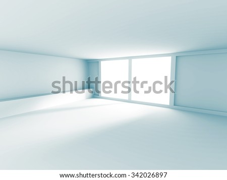 Empty Room Interior White Background. 3d Render Illustration - stock photo