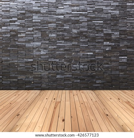 Empty room interior with black slate wall and wooden floor - stock photo