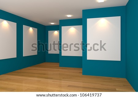 Empty room interior with white canvas on a blue wall in the gallery. - stock photo