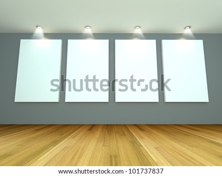 Empty room interior with white canvas on a gray wall in the gallery. - stock photo