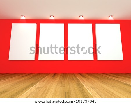 Empty room interior with white canvas on a red wall in the gallery. - stock photo