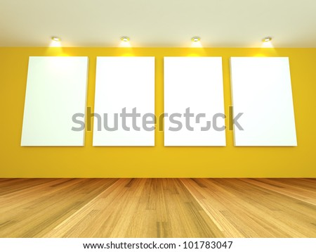 Empty room interior with white canvas on a yellow wall in the gallery. - stock photo