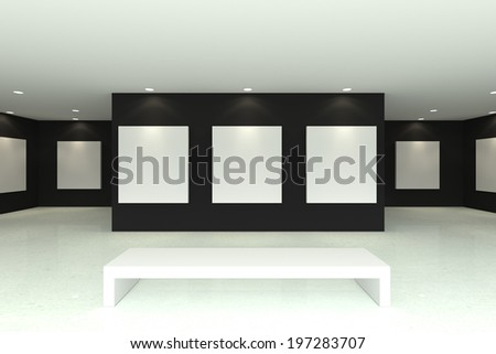 Empty room interior with white canvas on black wall in the gallery - stock photo