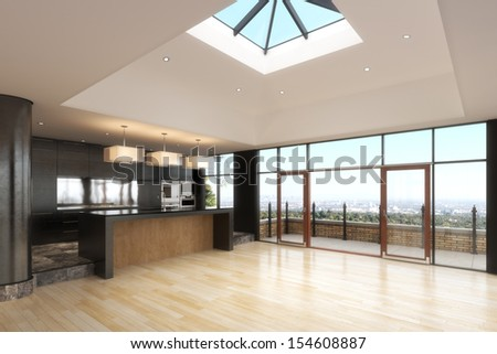 Empty room of a Highrise residence with a city background. - stock photo