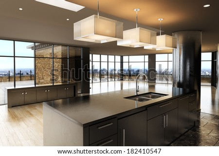 Empty room of a interior residence with a city landscape background. - stock photo