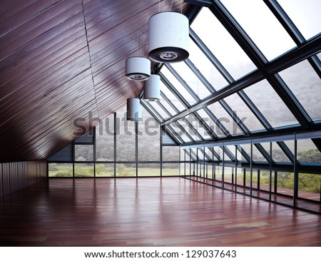 Empty room of business,commercial  or residence hall with woods background - stock photo
