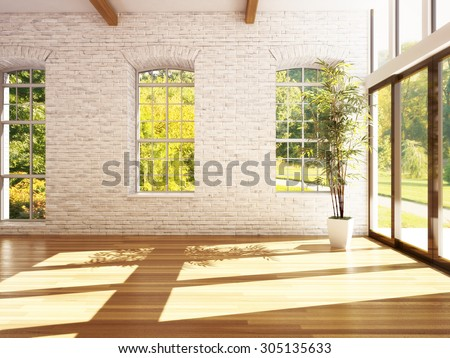 Empty room of business, or residence with hardwood floors, stone walls and woods background. Photo realistic 3d rendering. - stock photo