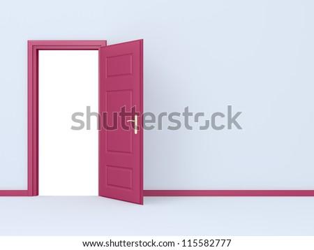 Empty room, pink opened door in gray wall. - stock photo