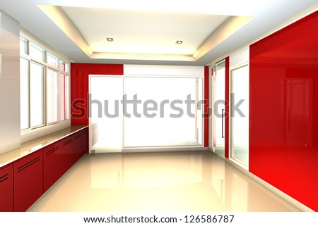 Empty room red tone for office interior - stock photo
