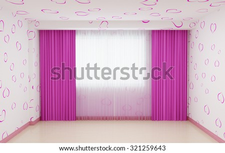 Empty room renovated for girls in pink. The interior has a plinth and curtains in pink. 3d illustration. - stock photo