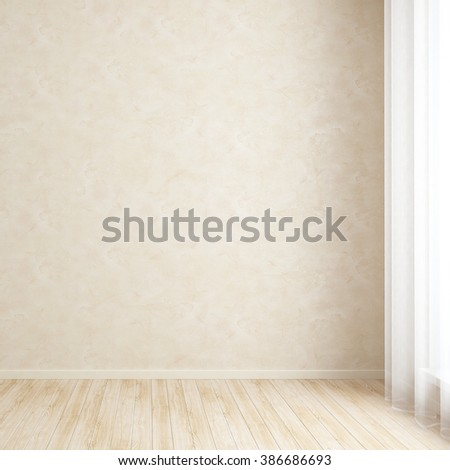 Empty room wall with textured plaster - stock photo