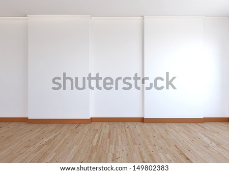 empty room , white wall and wood floor - stock photo