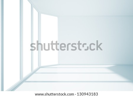 empty room with big window - stock photo