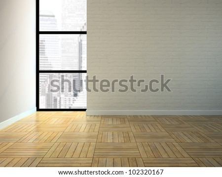 Empty room with brick wall 3D rendering - stock photo