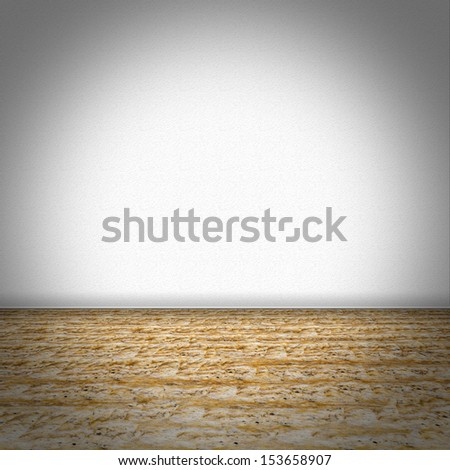 Empty room with brown marble floor and white structured wallpaper - stock photo