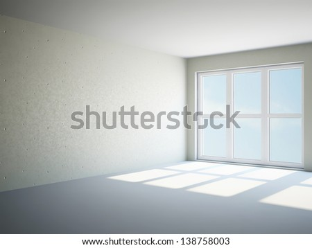 Empty room with cement wall and panoramic windows - stock photo