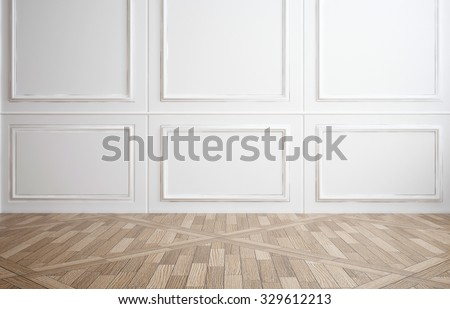 Empty room with classic white wood paneling on the walls and a hardwood parquet floor for use as an interior design or decor background, 3d rendering - stock photo