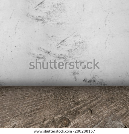Empty Room With concrete Floor and plastered wall grungy Interior - stock photo
