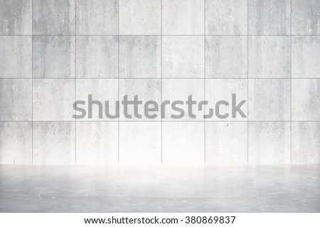 Empty room with concrete floor and wall 3D Render - stock photo