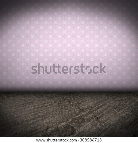 Empty Room With concrete Floor and wall with wallpaper grungy Interior - stock photo