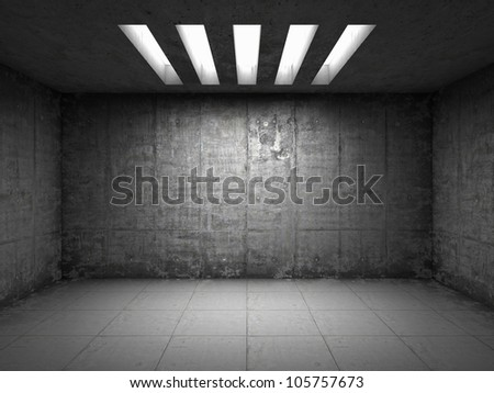 Empty room with concrete walls - stock photo