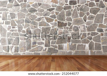 Empty room with copy space and wooden floor - stock photo