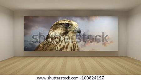 Empty room with falcon picture, 3d art concept, clean space - stock photo