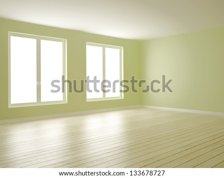 Empty room with green walls and white windows - stock photo