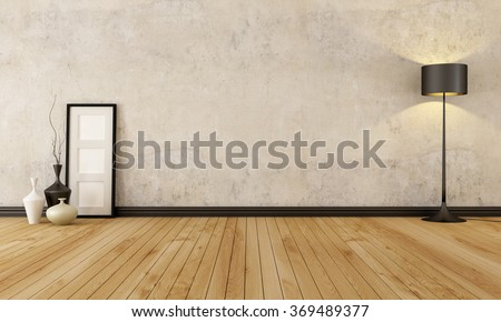 empty room with hardwood floor and old wall - 3D rendering - stock photo