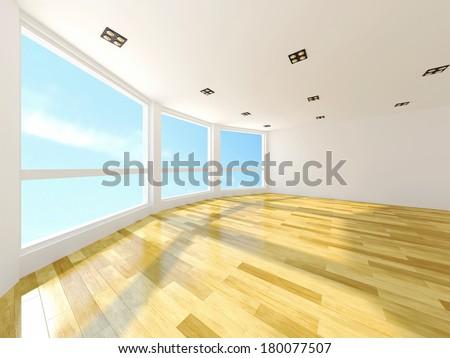 Empty room with large windows - stock photo