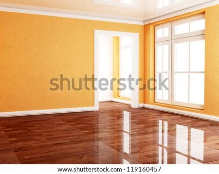 empty room with many windows, rendering - stock photo