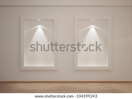 empty room with niches and backlights - 3d illustration - stock photo